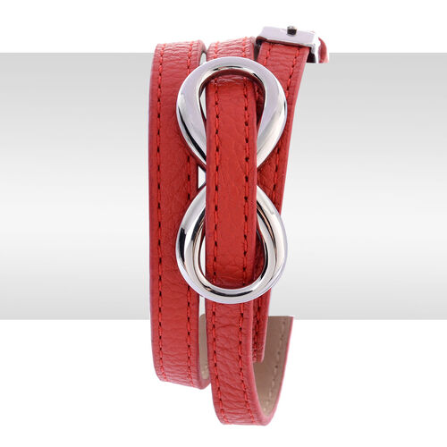 Stainless Steel Belt Buckle Bracelet (Size 8 inch) with Red Strap