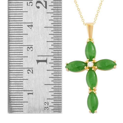 Green Jade (Mrq), Natural White Cambodian Zircon Cross Pendant with Chain in Yellow Gold Overlay Sterling Silver 7.150 Ct.