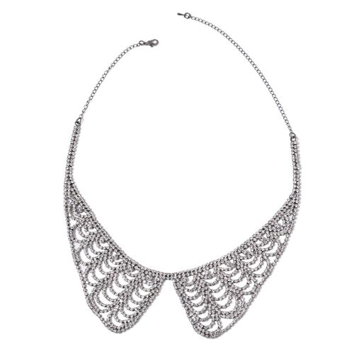 AAA White Austrian Crystal Collar Necklace (Size 17 with 5 inch Extender) and Dangling Earrings (with Push Back) in Black Tone