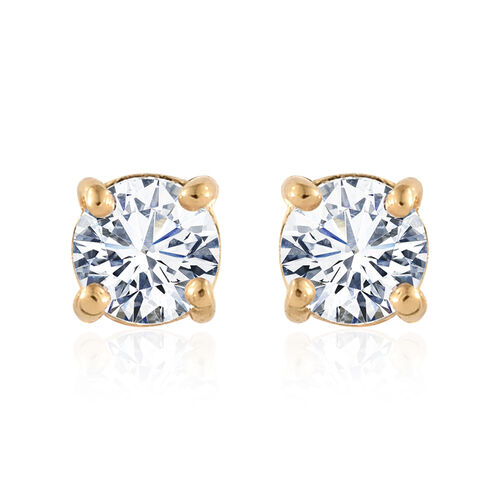 ELANZA AAA Simulated Diamond (Rnd) Solitaire Pendant and Stud Earrings (with Push Back) in 14K Gold Overlay Sterling Silver
