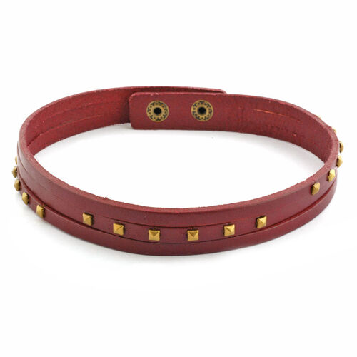 Red Leather Studded Wrap Bracelet in Gold Tone (Size 8)