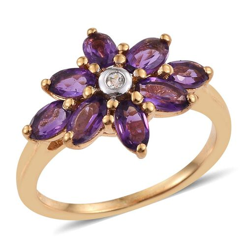 Amethyst (Ovl), White Topaz Ring in 14K Gold Overlay Sterling Silver 1.520 Ct.