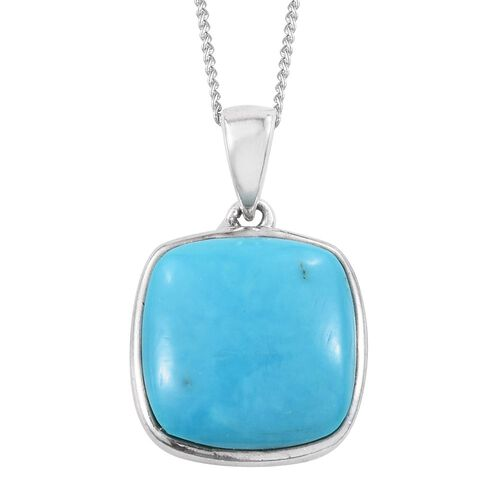 AAA Arizona Sleeping Beauty Turquoise (Cush) Solitaire Pendant with Chain in Platinum Overlay Sterling Silver 4.000 Ct.