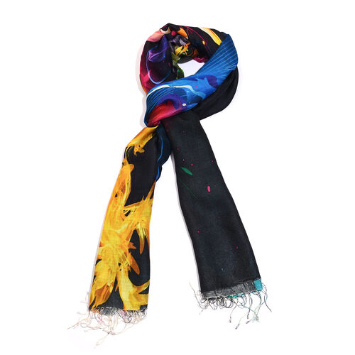 100% Katan Silk Black, Yellow and Multi Colour Digital Print Floral Pattern Scarf with Tassels (Size 200X70 Cm) Finish Wt. 100Gms