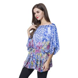 Designer Inspired - Blue, Pink and Multi Colour Leopard and Jewellery Pattern Poncho (Free Size)