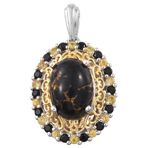 Arizona Mojave Black Turquoise (Ovl 6.25 Ct), Yellow Sapphire and Boi Ploi Black Spinel Pendant in Platinum and Yellow Gold Overlay Sterling Silver 7.500 Ct.