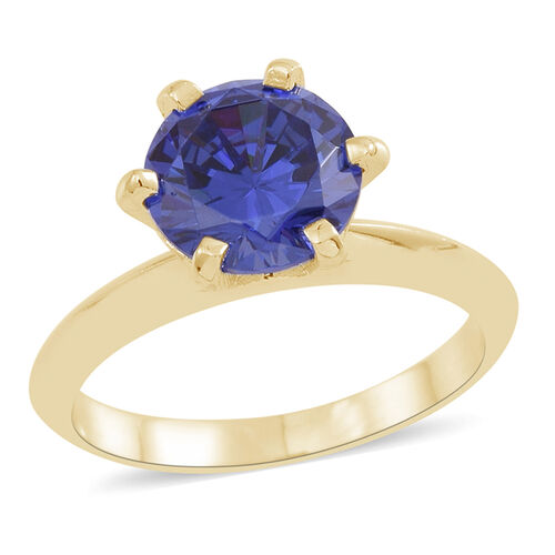 ELANZA AAA Simulated Tanzanite (Rnd) Solitaire Ring in 14K Gold Overlay Sterling Silver