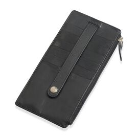 Genuine Leather RFID Blocker Black Colour Ladies Wallet (Size 17x8 Cm)