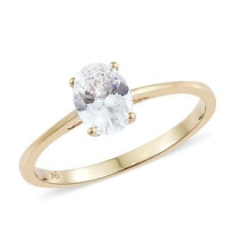 J Francis 9K Yellow Gold (Ovl) Solitaire Ring Made with SWAROVSKI ZIRCONIA