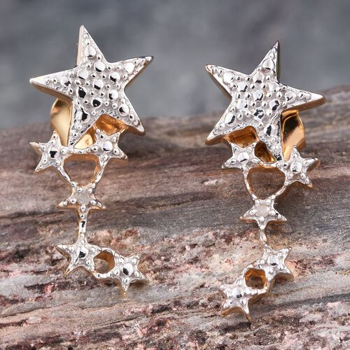 Diamond (Rnd) Star Earrings (with Push Back) in 14K Gold Overlay Sterling Silver