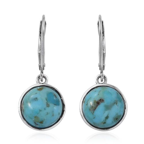 Arizona Matrix Turquoise (Rnd) Lever Back Earrings in Platinum Overlay Sterling Silver 6.000 Ct.