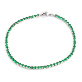 ELANZA AAA Simulated Emerald (Rnd) Bracelet (Size 7.5) in Rhodium Plated Sterling Silver, No. of Stones 65pcs