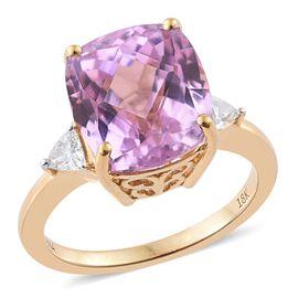 ILIANA 18K Yellow Gold AAA Kunzite (Cush), Diamond (SI G-H) Ring 8.200 Ct.