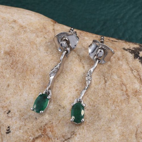 Brazilian Emerald (Ovl) Earrings (with Push Back) in Platinum Overlay Sterling Silver