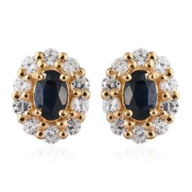 Kanchanaburi Blue Sapphire (Ovl), Natural Cambodian Zircon Stud Earrings (with Push Back) in 14K Gold Overlay Sterling Silver 2.500 Ct.