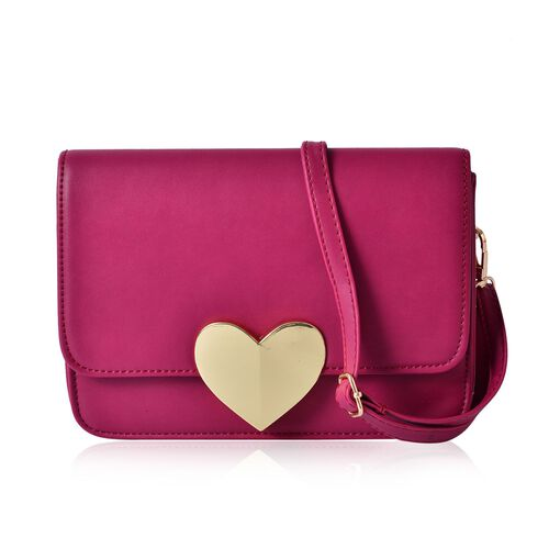 Pink Colour Crossbody Bag with Adjustable and Removable Shoulder Strap (Size 22.5x7x16 Cm)
