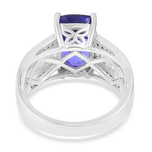 ILIANA 18K W Gold AAA Tanzanite (Cush 4.75 Ct), Diamond (SI/G-H) Ring 5.500 Ct.