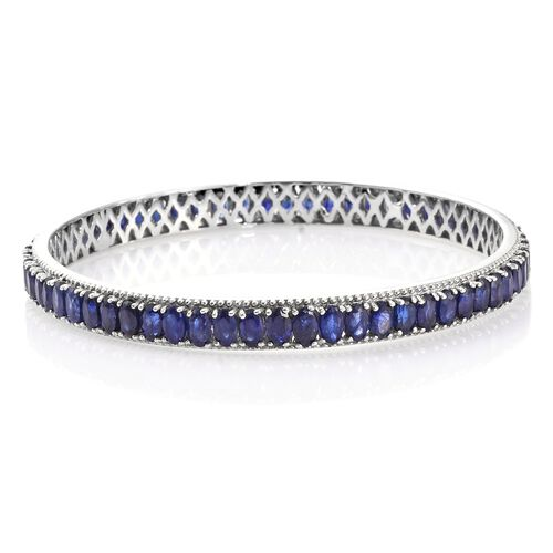 Masoala Sapphire (Ovl) Bangle (Size 7.5) in Platinum Overlay Sterling Silver 22.500 Ct. Silver wt 13.39 Gms.