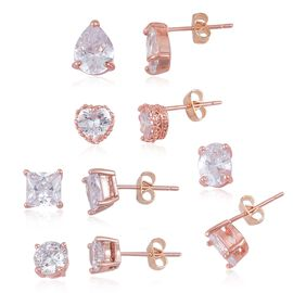 Super Bargain Auction - Set of 5 - AAA Simulated White Diamond (Rnd, Hrt, Ovl, Sqr and Pear) Stud Earrings (with Push Back) Rose Gold Plated