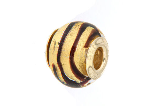 Close Out Deal 9K Y Gold Coffee and Golden Colour Murano Glass Bead Charm