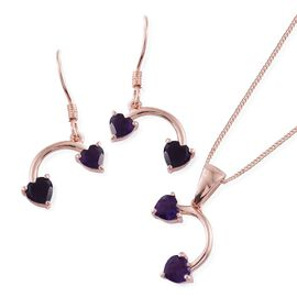 Amethyst (Hrt) Pendant with Chain and Hook Earrings in Rose Gold Overlay Sterling Silver 2.250 Ct.