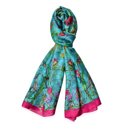 Multi Colour Bloom Floral Pattern Rose Colour Scarf (Size 170x90)