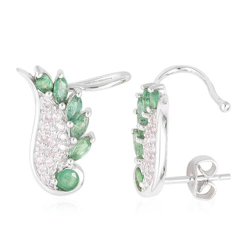 Kagem Zambian Emerald (Rnd), Natural White Cambodian Zircon Angel Wings Earrings (with Push Back) in Platinum Overlay Sterling Silver 1.250 Ct.