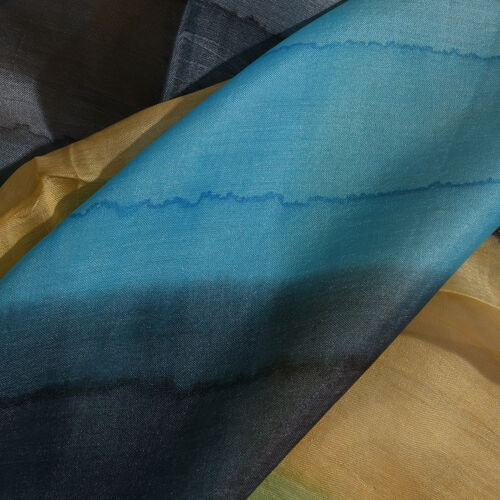 100% Mulberry Silk Black, Grey, Yellow and Turquoise Colour Hand Screen Printed Scarf (Size 180X50 Cm)