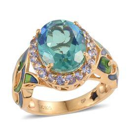 GP Peacock Quartz (Ovl 5.38 Ct), Tanzanite and Kanchanaburi Blue Sapphire Ring in 14K Gold Overlay Sterling Silver 6.000 Ct.