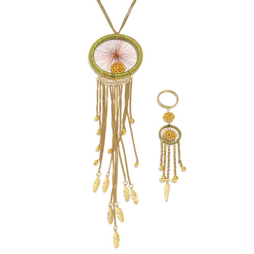 Golden Colour Feather Design Green Colour Dream Catcher Necklace (Size 30 with 2 inch Extender) and Matching Key Chain in Gold Tone