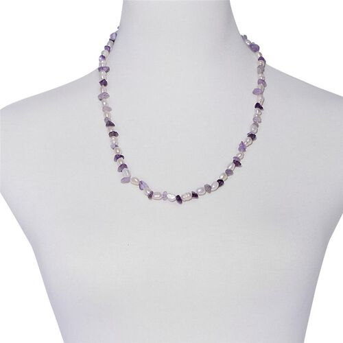 Amethyst and Fresh Water White Pearl Necklace (Size 20) and Bracelet (Size 7.50) in Silver Tone