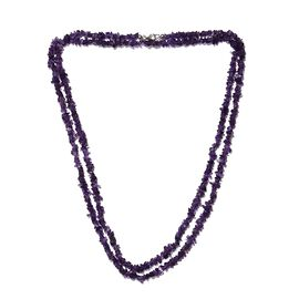 Amethyst Chips Necklace (Size 52) with Lobster Lock in Platinum Overlay Sterling Silver 230.000 Ct.