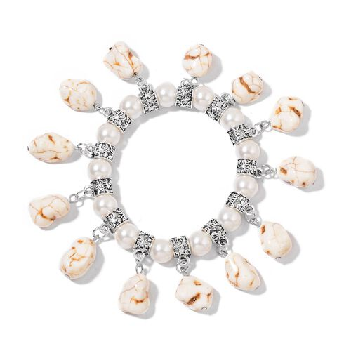 Set of 2 - White Howlite and Simulated White Pearl Seahorse and Multi Charm Stretchable Bracelet (Size 7.5) in Silver Tone 300.00 Ct.