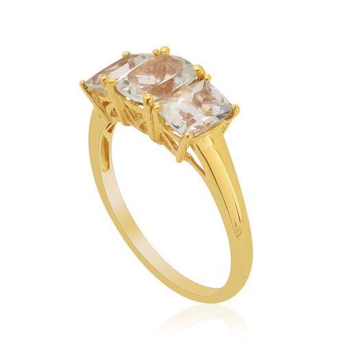 Espirito Santo Aquamarine (Cush 1.00 Ct) 3 Stone Ring in 14K Gold Overlay Sterling Silver  2.500 Ct.