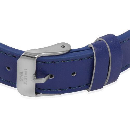 Blue Studded Leather Bracelet (Size 8.5) in Stainless Steel