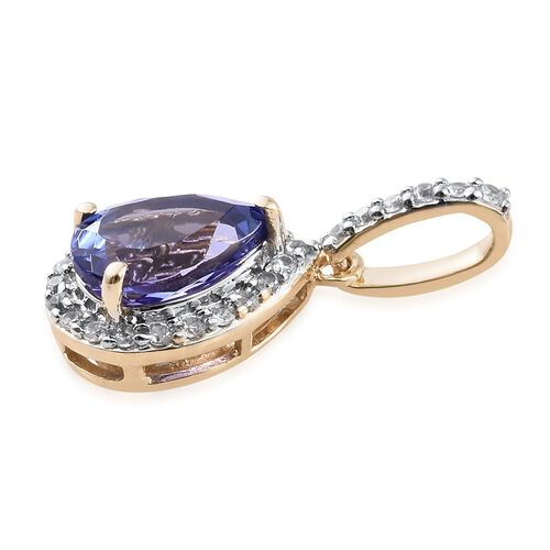 9K Yellow Gold AA Tanzanite (Pear 1.25 Ct), Natural Cambodian Zircon Pendant 1.500 Ct.