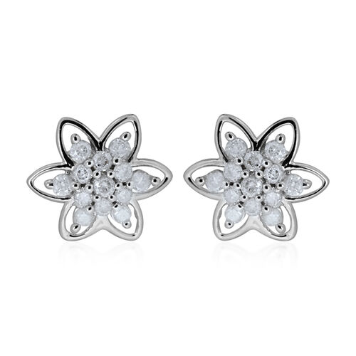9K W Gold SGL Certified Diamond (Rnd) (I3/ G-H) Floral Stud Earrings (with Push Back) 0.500 Ct.
