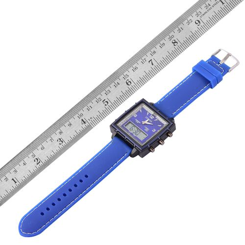 STRADA Japenese Movement Blue Colour Analog - Digital Watch in Black Tone with Blue Colour Silicone Strap