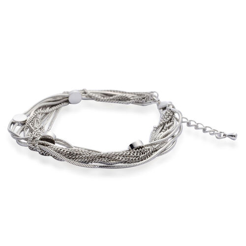 Multi Strand Necklace (Size 18 with Extender) and Bracelet (Size 7.5 with Extender) in Silver Tone