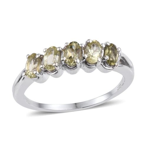 Natural Canary Apatite (Ovl) 5 Stone Ring in Platinum Overlay Sterling Silver 1.500 Ct.