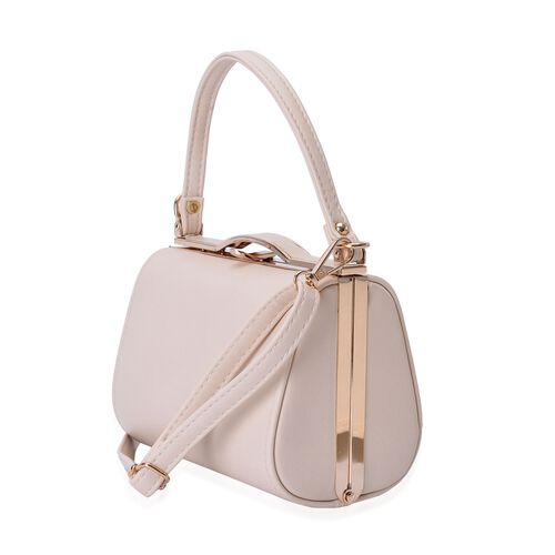 Cream Colour Clutch Bag With Adjustable and Removable Shoulder Strap (Size 18x12.5x10 Cm)