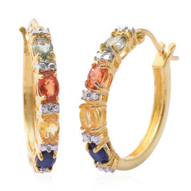Rainbow Sapphire (Ovl) Hoop Earrings (with Clasp Lock) in 14K Gold Overlay Sterling Silver 1.750 Ct.