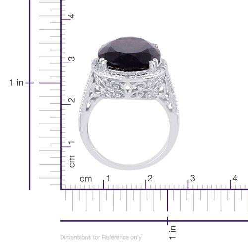 Brazilian Smoky Quartz (Ovl 13.50 Ct), Diamond Ring in Platinum Overlay Sterling Silver 13.530 Ct.