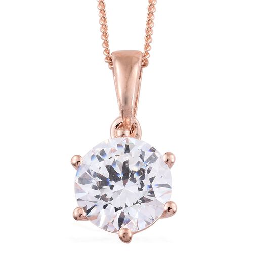 J Francis - Rose Gold Overlay Sterling Silver (Rnd 8mm) Solitaire Pendant With Chain Made with SWAROVSKI ZIRCONIA