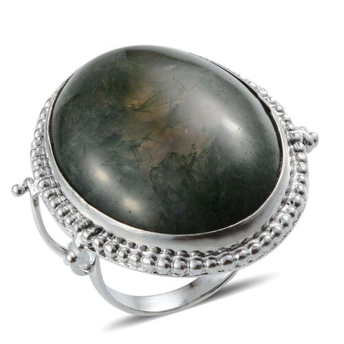 Moss Agate (Ovl) Solitaire Ring in Platinum Bond 39.980 Ct.