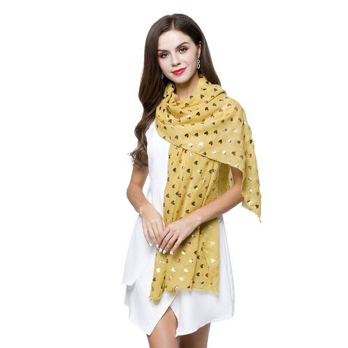 Golden Hearts Pattern Yellow Colour Scarf with Fringes (Size 180X70 Cm)