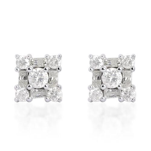 9K White Gold 0.50 Carat Diamond Stud Earrings (with Push Back) SGL Certified (I3/G-H)