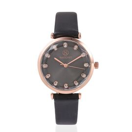 STRADA Japanese Movement White Austrian Crystal Studded Water Resistant Watch in Rose Gold Tone with Black Strap