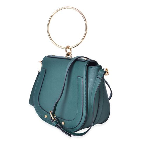 Green Colour Tote Bag with Circular Handle and Adjustable and Removable Shoulder Strap (Size 22X18.5X8 Cm)