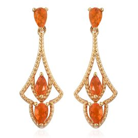 Jalisco Fire Opal (Pear) Earrings (with Push Back) in 14K Gold Overlay Sterling Silver 0.700 Ct.